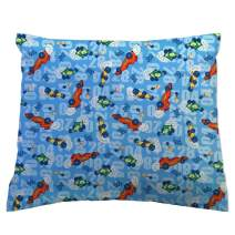 SheetWorld Crib / Toddler Percale Baby Pillow Case - Race Cars Blue - Made In USA
