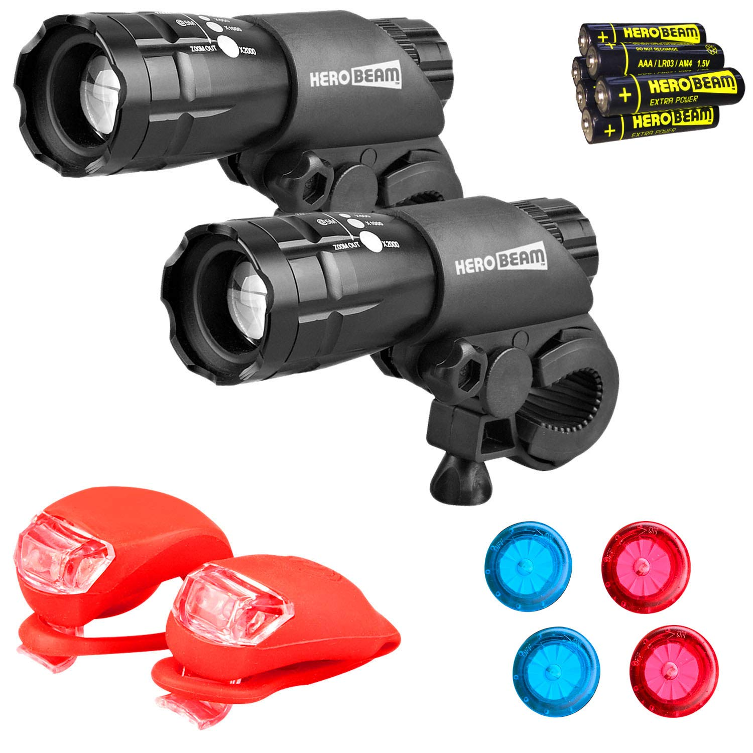 HeroBeam Bike Lights Double Set - The Ultimate Lighting and Safety Pack of Super Bright Front Bicycle Lights, Tail Lights and Wheel Lights - Includes All Batteries - 5 Year Warranty