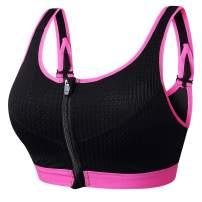 newlashua Women's Support Push Up Zip Front Close Padded Adjustable Sports Bra
