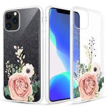 Caka Flower Case for iPhone 11 Pro Glitter Case Glitter Crystal Clear for Girls Women Rose Floral Transparent Soft TPU Flexible Bling Flower Phone Case for iPhone 11 Pro (5.8 inch)(2019)(Rose)