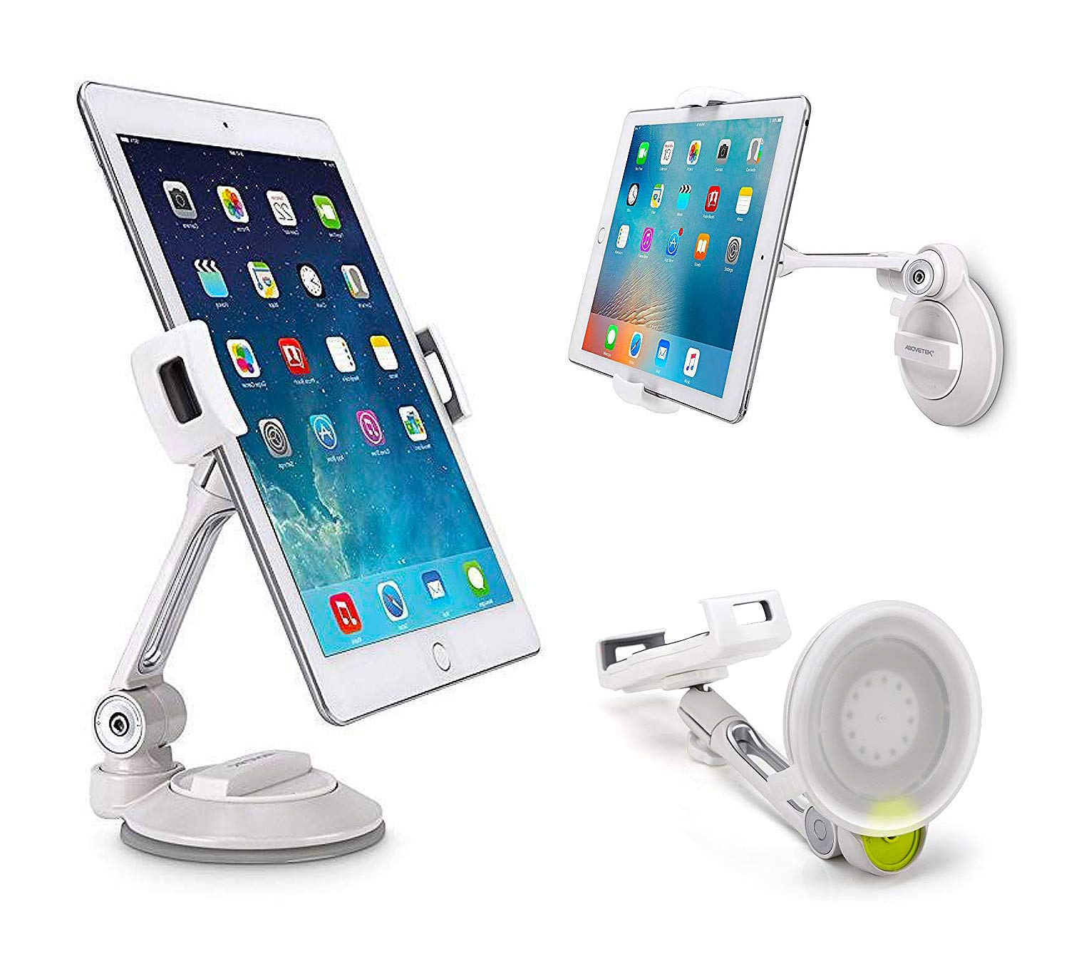 """Grip Tight iPad Suction Cup Holder Fits 4-11"""" Display, Swivel Sticky Tablet Phone Stand Pad to Mount Smartphone, iPhone 5 6 7 iPad Mini, Cell on Smooth Surface Desk Countertop Mirror Car Truck Window"""