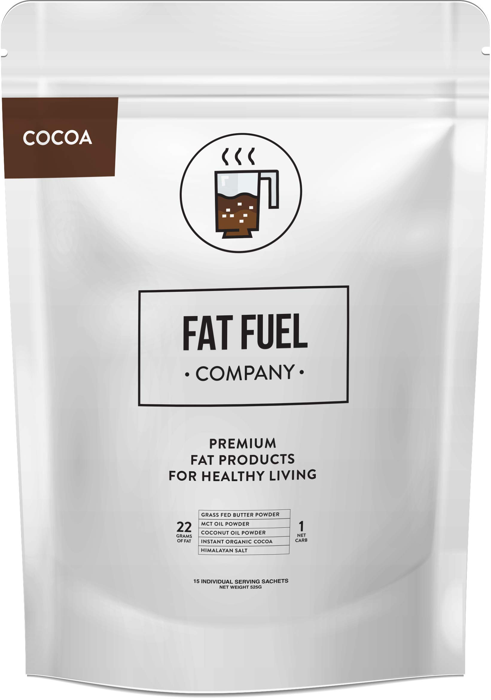 Fat Fuel Company Keto Cocoa Powder – Low Carb Hot Chocolate Drink Mix with MCT Oil, Coconut Oil and Grass-Fed Butter Powder – Boost Your Metabolism to Reach Your Weight Loss Goals (15 Packets)