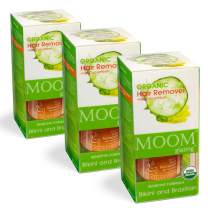 MOOM Organic Sugar Wax Kit for Hair Removal with Cucumber & Lemon Juice - Natural Sugaring Glaze for Body & Bikini – Includes 12 Waxing Strips & 6 Applicators 3 oz. 3 Pack