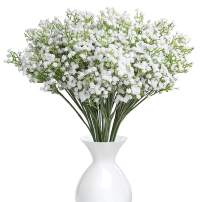 YSBER 20Pcs Baby Breath/Gypsophila Artificial Fake Silk Plants Wedding Party Decoration Real Touch Flowers DIY Home Garden (White-20PCS)