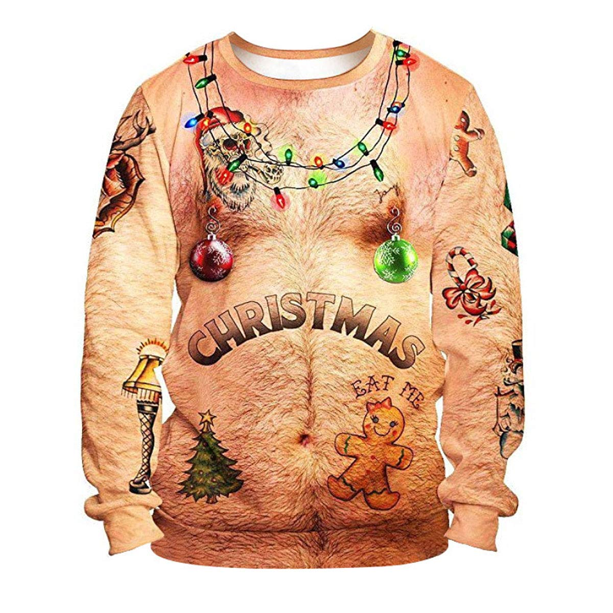 Ugly Christmas Sweatshirt Funny 3D Design Printed Unisex Adult Long Sleeve Xmas Pullover Sweater Shirt