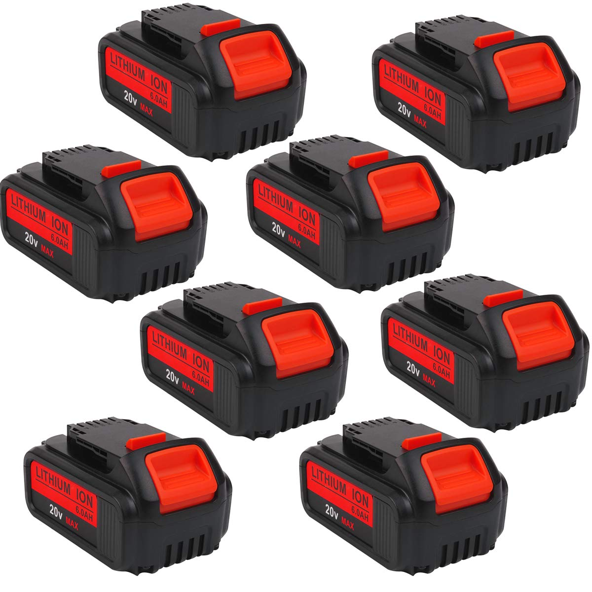 8-Pack 20V 6.0Ah DCB205 Premium Battery for DeWalt 20Volt Battery Lithium Ion MAX XR DCB204 DCB205 DCB206 DCB205-2 DCB200 DCB180 DCD985B DCD771C2 DCS355D1 DCD790B