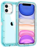 Coolden Hybrid Clear Phone Case for iPhone 11 6.1 Inches, Heavy Duty Protective Dual Layer Shockproof Case with Hard PC Bumper Soft TPU Back for 2019 Release iPhone 11 XI, Transparent Blue