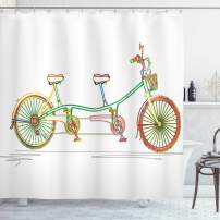 "Ambesonne Bicycle Shower Curtain, Colorful Tandem Bicycle Design on White Background Pattern Clipart Style Print, Cloth Fabric Bathroom Decor Set with Hooks, 70"" Long, White Green"