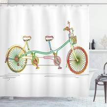 "Ambesonne Bicycle Shower Curtain, Colorful Tandem Bicycle Design on White Background Pattern Clipart Style Print, Cloth Fabric Bathroom Decor Set with Hooks, 84"" Long Extra, White Green"