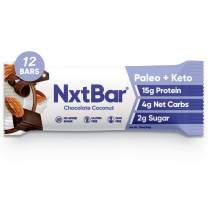 NxtBar Chocolate Coconut Protein Bar | Keto and Paleo Friendly Low Carb Low Sugar Low Calorie Bars | Keto Friendly Healthy Snacks For Adults (12 pack) | 2g Sugar, 4g Net Carbs, 15g Protein
