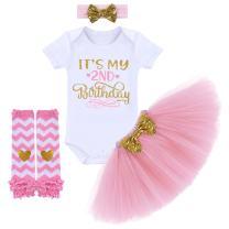 FYMNSI Newborn Baby Girls It's My 1st / 2nd Birthday Cake Smash Romper Tutu Skirt Headband Leggings 4 Pcs Outfits