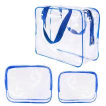 3Pcs Crystal Clear Plastic Cosmetic Bags Travel PVC Vinyl Toiletry Bag Set, Zipper Large Transparent Waterproof Make-Up Case Diaper Pouch for Baby Women Men, Beach Swim Pool Packing Organizer Bag Blue