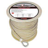 """Extreme Max 3006.2279 BoatTector Premium Double Braid Nylon Anchor Line with Thimble - 5/8"""" x 300', White & Gold"""