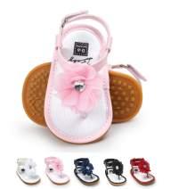E-FAK Baby Girl Sandals Flower Anti-Slip Rubber Sole T-Strap Summer Shoes Toddler Crib First Walker Princess Dress Flats