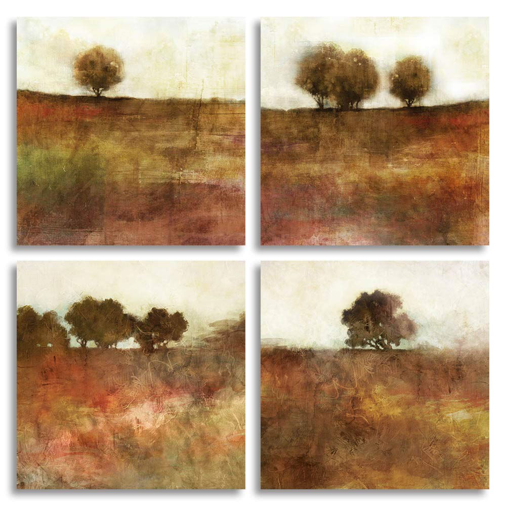 HLJ Tulip Rose Wall Art Painting in Golden Red Vivid Flower Home Wall Floral Canvas Print in 4 Panels (Brown, 12x12inchesx4pcs (30x30cmx4pcs))