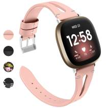 Goton Leather Bands Compatible with Fitbit Sense/Versa 3, Women Slim Thin Replacement Wristband for Fitbit Sense/Versa 3 (Pink)