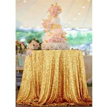 ShinyBeauty Sequin Tablecloth-Gold-60Inch Round Sparkle Tablecloth,Glitter Table Cloth,Sequin Wedding Tablecloth (Gold)
