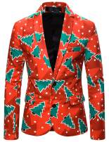 WHATLEES Men's Christmas Costume Suit Jacket Two Button Ugly Xmas Blazer