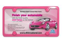 DFDM National License Plate Frame Kit Premium Stainless-Steel Powder Coated Gloss Pink, Contains Screws, Fasteners, Caps Foam Insulation - 4 Hole Bracket Anti-Theft Design