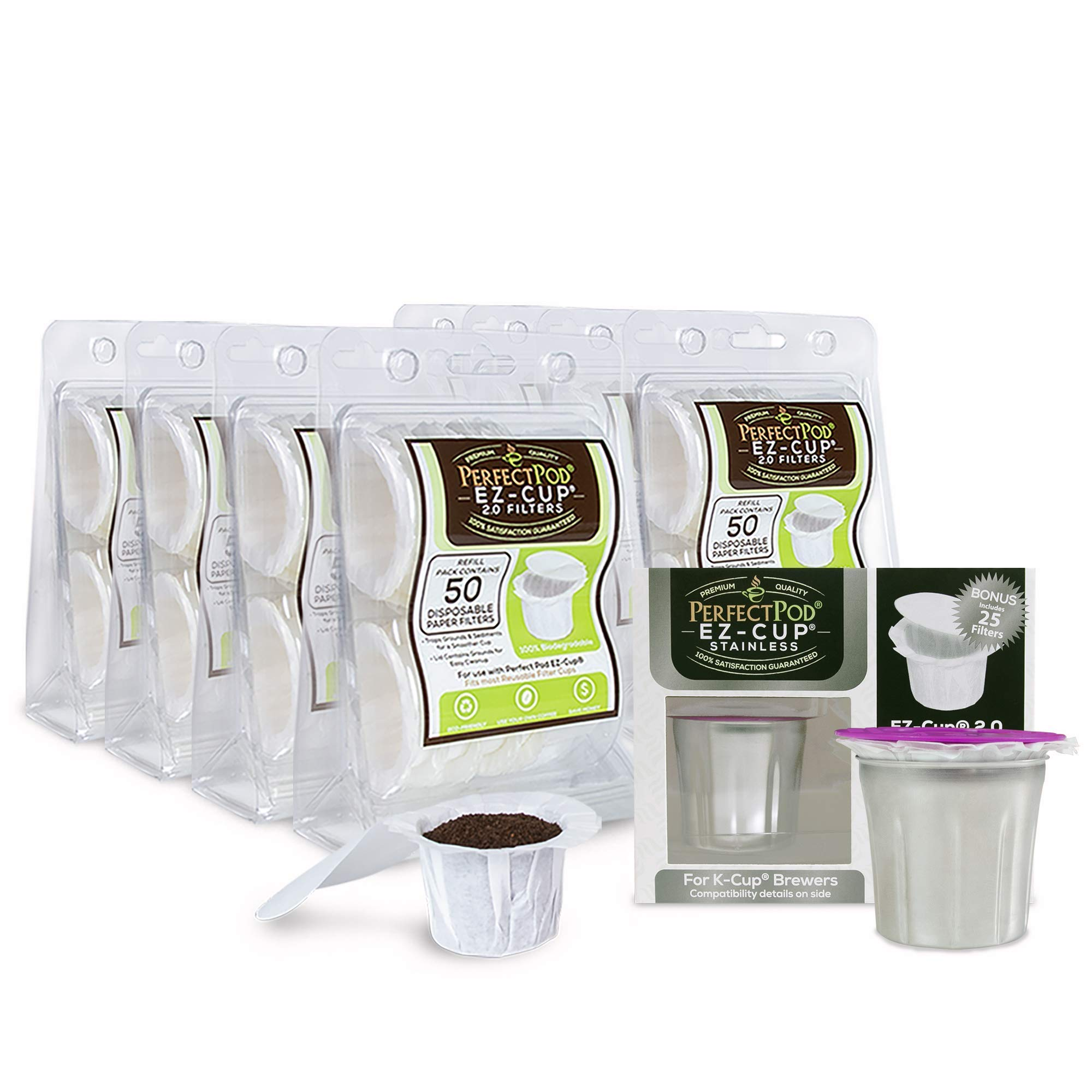 Perfect Pod Bundle | EZ-Cup Stainless Steel And 8-Pack EZ-Cup Disposable Paper Filters With Lid (400 Filters)