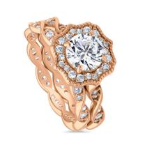 BERRICLE Rose Gold Plated Sterling Silver Round Cubic Zirconia CZ Art Deco Halo Milgrain Engagement Wedding Ring Set 1.68 CTW