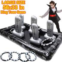 Halloween Party Game for Kids Large Size Inflatable Tombstone Headstone Ring Toss Game Halloween Yard Outdoor Party Game  Decoration School Party Supplies