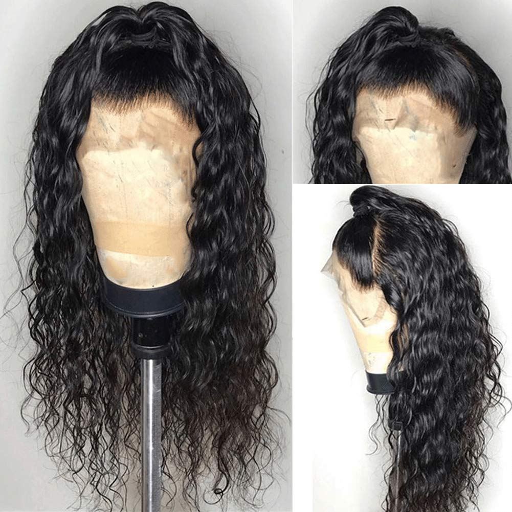 """Deep Curly Human Hair Wigs for Black Women 180% Density 9A Remy Brazilian Human Hair Wig with Baby Hair Curly 360 Lace Frontal Wig Human Hair Pre Plucked 360 Full Lace Human Hair Wigs Wet and Wavy 12"""""""