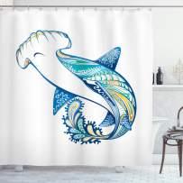 "Ambesonne Abstract Shower Curtain, Hammer Head Shark Ornate Underwater Sea Oceanic Life Animals Marine Theme, Cloth Fabric Bathroom Decor Set with Hooks, 84"" Long Extra, Blue Aqua"