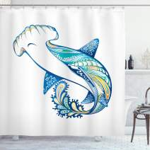 "Ambesonne Abstract Shower Curtain, Hammer Head Shark Ornate Underwater Sea Oceanic Life Animals Marine Theme, Cloth Fabric Bathroom Decor Set with Hooks, 70"" Long, Blue Aqua"