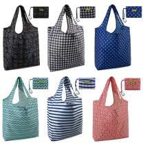 Folding Shopping Bags Reusable Grocery Totes Bag 6 Pack X Large 50LBS Ripstop Fashion Geometric Pattern Bags Foldable with Pouch Bulk Waterproof Nylon Machine Washable Durable Eco-Friendly
