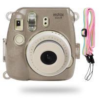 Katia Glitter Case Compatible for Fujifilm Instax Mini 9 / Mini 8 Instant Film Camera with Rainbow Strap (Smokey White)