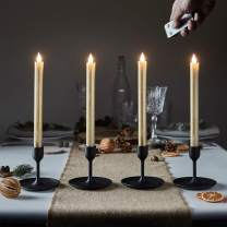 """Lights4fun, Inc. Set of 4 Gold Wax 10"""" Battery Operated Remote Control LED Flameless Taper Candles"""