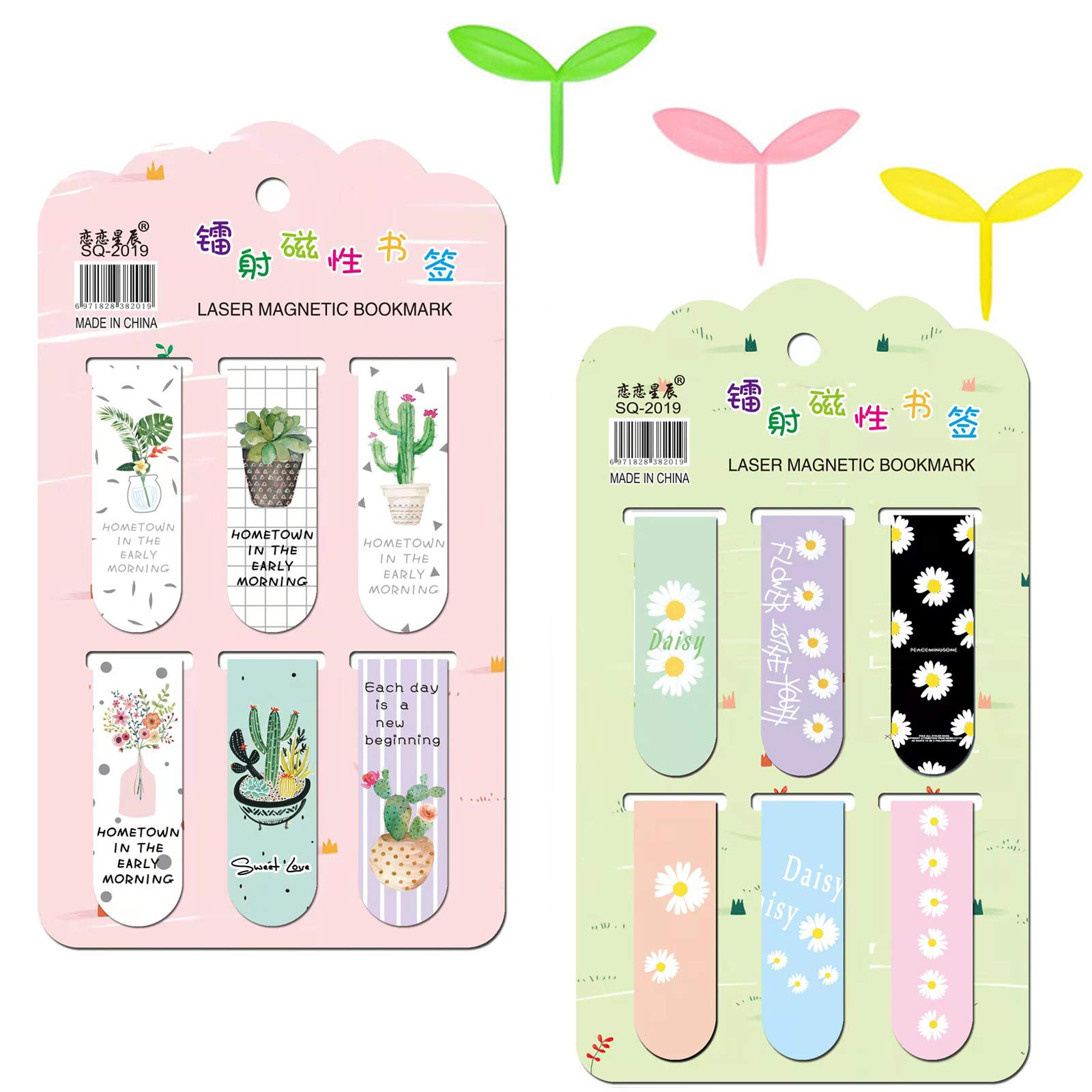 scurry 12 Pieces Magnetic Bookmarks Magnet Page Markers, Bookmarks for Books with Daisies and Desert Plants Motifs, 3 Pieces Sprout Bookmarks(Green Yellow Pink)