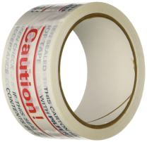"""3M 371 Printed White Carton Sealing Tape - 2 in. x 55 yds. Adhesive Tape Roll with Red, Blue """"Caution"""" Lettering. Sealants and Adhesives"""