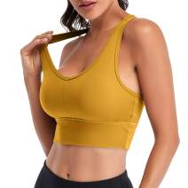 BROMEN Sports Bra for Women High Impact Padded Compression Yoga Bra Supportive Running Workout Tops