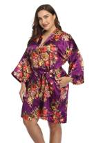 Women's Plus Size Satin Robes Short Silky Bathrobes Bridesmaid Party Dressing Gown