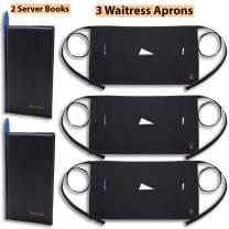 3 Waitress Aprons + 2 Server Books – Black Aprons Have 3 Pockets, Server Book Has Money Pock and Credit Card Slot with Room for Pen.