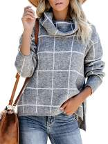 MYIFU Women's Winter Turtleneck Plaid Pullover Sweater High Low Slit Knitted Sweaters Jumper Tops