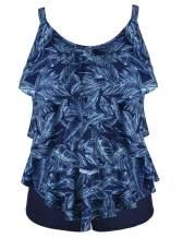 Cadocado Women's Tankini Set Two Piece Swimsuit Layered Ruffled Top with Boyshort Swimwear