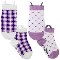 Ez Sox Girls Toddler Socks Seamless Toe, Non Skid Grip, Pull Up Loops, 2 Pairs