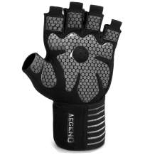 Aegend Weight Lifting Gym Gloves, Workout Gloves for Women Men, with Wrist Support Anti-Slip Leather Palm 4 Quick Pull-Tabs for Exercise, Training, Fitness, Powerlifting, Hanging, Pull-ups