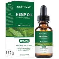 ECO finest Hemp Oil 1000mg for Pain Relief Anxiety Sleep Mood Stress - Pure Natural Organic Vitamins Fatty Acids Spectrum Hemp Seed Extract - Zero THC CBD Cannabidiol Tincture Drops (1000mg)