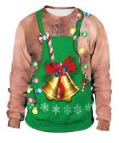 Necosthua Unisex Ugly Christmas Pullover Sweatshirts 3D Print Casual Graphic Xmas Long Sleeve Round Neck Shirts for Men Women