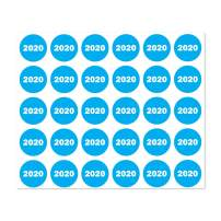 1200 Labels - Color-Coded 2020 Year Stickers for Inventory Quality Control (0.75 inch Round Sky Blue - 40 Sheets)
