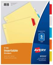 Avery Insertable Dividers, Buff Paper, 5 Multicolor Tabs, 1 Set (81000)