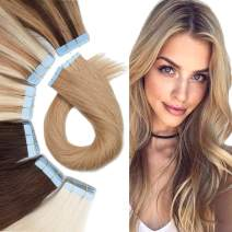 Tape In Human hair Extension Skin Weft Real Hair Extensions Glue In Remy Hair Adhensive Rooted Tape In Strong Double Sided Tape On Hair Pieces For Women 16inch 60g 20pcs #27 Dark Blonde