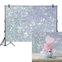 Allenjoy 7x5ft Printed Sliver Bokeh Backdrop for Photography (No Glitter) Polka Dots Sequins Shiny Sparkle Birthday Party Newborn Baby Shower Professional Portrait Product Pets Photo Studio Background