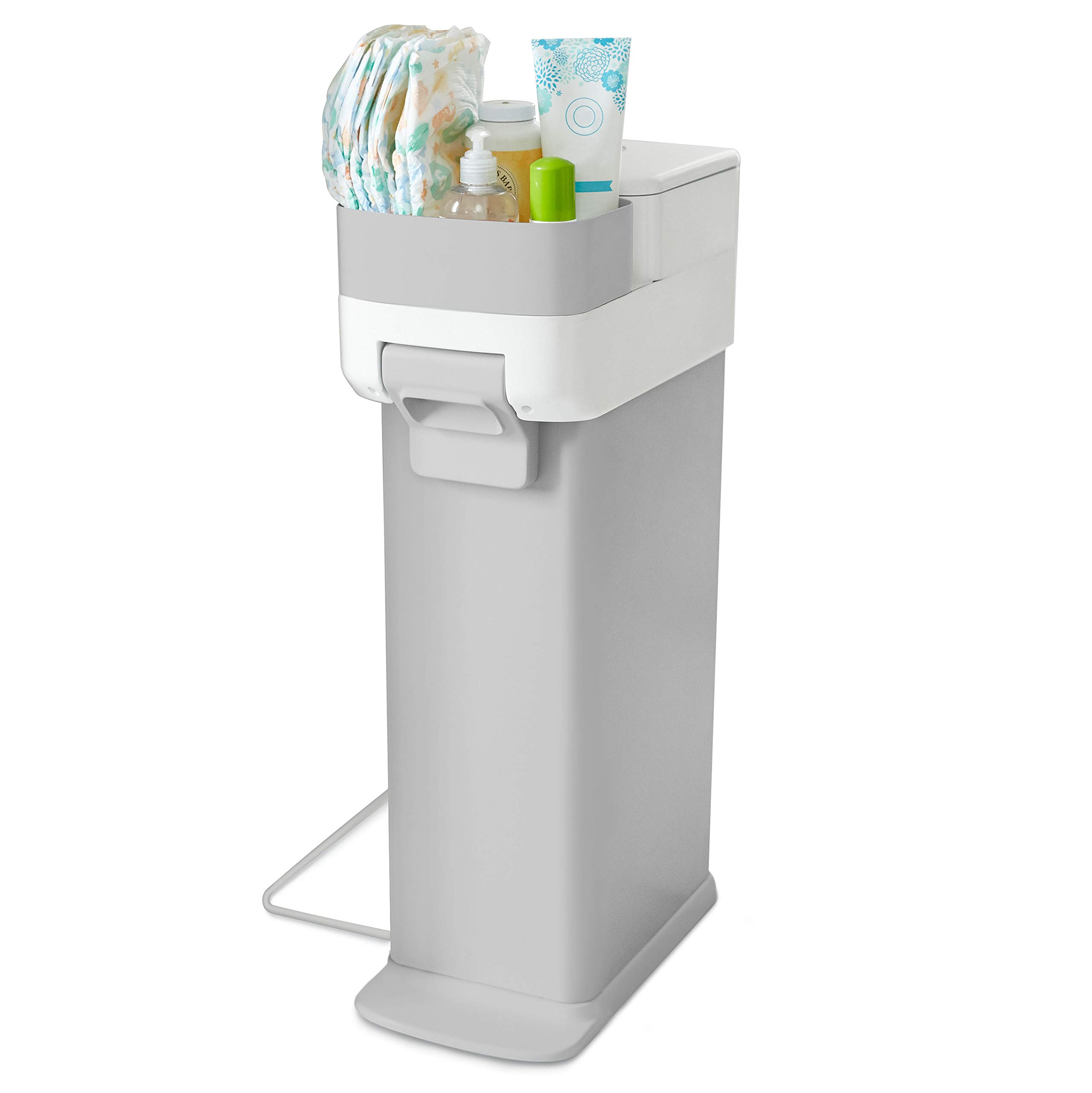 Skip Hop Diaper Pail with Dual Air-Lock, Premium Slim Design, Fits Standard Trash Bags, White