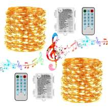 Sound Activated String Lights, 12 Modes 16.4ft 50 LED Battery Operated Twinkle String Lights with Remote Timer for Bedroom Wedding Party Festival Indoor Decor [2 Pack] (Silver Wire, Warm White)
