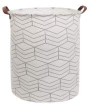 CLOCOR Large Storage Bin-Cotton Storage Basket-Round Gift Basket with Handles for Toys,Laundry,Baby Nursery (Grey Stripes)